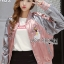 Cathy Sporty Feminine Embroidered Pink Bomber Jacket thumbnail 6