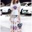Amelia Colourful Printed White Crepe Dress thumbnail 4