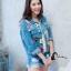 เสื้อผ้าเกาหลี พร้อมส่ง3D Butterfly Denim Jacket thumbnail 2