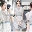 Astrid Blue Back Ribbon Scalloped White Lace Dress thumbnail 4