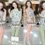 เสื้อผ้าเกาหลี พร้อมส่งPink-mint Bow tie flank waist chic set thumbnail 1