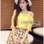 เสื้อผ้าเกาหลี พร้อมส่งเซ็ตเสื้อเปิดไหล่สีเหลืองและกระโปรงกางเกงพิมพ์ลายเลมอน thumbnail 4