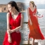 Ribbon Shoulder Sexy Waist Back Red Hot Maxi Dress thumbnail 2