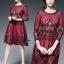 ชุดเดรสเกาหลี พร้อมส่งRed Wine Lace Luxury Dress thumbnail 2
