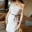 Hollow lace tie waist ivory dress thumbnail 3