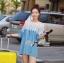เสื้อผ้าเกาหลี พร้อมส่ง เสื้อลูกไม้ตัดต่อผ้าเดนิมสไตล์วินเทจ thumbnail 4