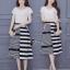 เสื้อผ้าเกาหลี พร้อมส่งZebra Shirt + B&W Line Skirt Set thumbnail 1