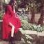 European Chiffon Red Hot Showing Leg Long Sleeve Maxi Dress thumbnail 4