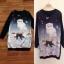 ( พร้อมส่งเสื้อผ้าเกาหลี) เดรสโทนสีดำแขนยาว คอกลม ด้านหน้าพิมพ์ลายแมว ลายสวยคมชัด ตัดต่อแขนยาวด้วผ้าสีดำล้วนจั้มปลายแขน thumbnail 9