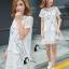 ชุดเดรสเกาหลี พร้อมส่งมินิเดรสคอกลมสีขาว ผ้าตาข่ายปักลายการ์ตูนแมว thumbnail 7