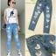 เสื้อผ้าเกาหลีพร้อมส่ง กางเกงยีนส์ขายาว ผ้าด้าน ปักเลื่ยมลายหัวใจสีเงิน thumbnail 5