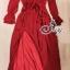 European Chiffon Red Hot Showing Leg Long Sleeve Maxi Dress thumbnail 9