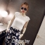 ( พร้อมส่งเสื้อผ้าเกาหลี) เซ็ตเสื้อแขนกุดผัาลูกไม้สีขาว เนื้อผ้า See-Throught มาพร้อมกางเกงผ้า Polyester พื้นสีกรมดำพิมพ์ลายดอกไม้ ใส่ Match กับเสื้อลูกไม้ใน Set เข้ากันอย่างลงตัว thumbnail 2