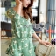 เสื้อผ้าเกาหลี พร้อมส่งเพลย์สูทสีเขียวมิ้นท์พิมพ์ลายดอกเดซี่สไตล์เฟมินีน thumbnail 4