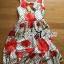 ชุดเดรสเกาหลี พร้อมส่งเดรสแขนกุดลายจุดพิมพ์ลายดอกไม้สีแดงสไตล์Dolce & Gabbana thumbnail 7