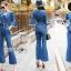 เสื้อผ้าเกาหลี พร้อมส่งจัมป์สูทผ้าเดนิมผูกโบที่เอวสไตล์ลำลอง thumbnail 3