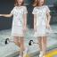 ชุดเดรสเกาหลี พร้อมส่งมินิเดรสคอกลมสีขาว ผ้าตาข่ายปักลายการ์ตูนแมว thumbnail 6