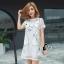 ชุดเดรสเกาหลี พร้อมส่งมินิเดรสคอกลมสีขาว ผ้าตาข่ายปักลายการ์ตูนแมว thumbnail 3