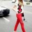 เสื้อผ้าเกาหลี พร้อมส่งเซตเสื้องานปักลายเส้นดีไซน์ปักเฉพาะด้านข้างโทนแดงดำ thumbnail 2