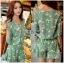 เสื้อผ้าเกาหลี พร้อมส่งเพลย์สูทสีเขียวมิ้นท์พิมพ์ลายดอกเดซี่สไตล์เฟมินีน thumbnail 3