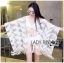 Amanda Feather Embroidered See-Through Poncho in White thumbnail 2