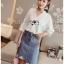 เสื้อผ้าเกาหลีพร้อมส่ง เสื้อผ้าคอตตอนสีขาวปักและฉลุลายสไตล์วินเทจ thumbnail 6