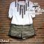 เสื้อผ้าเกาหลี พร้อมส่ง แมตช์เซ็ทเสื้อกับกางเกง เสื้อผ้า cotton แขนจั๊มตุ๊กตา thumbnail 8