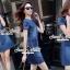 ชุดเดรสเกาหลี พร้อมส่งLV Pocket stick Denim Dress thumbnail 8