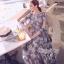 ชุดเดรสเกาหลี พร้อมส่ง แม็กซี่เดรสแขนยาวเนื้อผ้าชีฟองพิมพ์ลายดอกไม้โทนขาวเทาสีคลาสสิก thumbnail 1