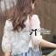 เสื้อผ้าเกาหลี พร้อมส่งเสื้อคลุมผ้าคอตตอนปักลายดอกไม้สไตล์เบสิก thumbnail 4