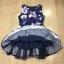 ชุดเดรสเกาหลี พร้อมส่งMini Dress ผ้าซาตินสีน้ำเงินเข้มปริ้นลายดอกไม้สีชมพู thumbnail 10