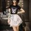 เสื้อผ้าเกาหลี พร้อมส่งเซ็ทเสื้อกับกระโปรงแบรนด์เนม ดีเทลแต่งรูปน้องแมวน่ารัก thumbnail 1