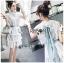 Astrid Blue Back Ribbon Scalloped White Lace Dress thumbnail 5