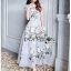 Fiona Royal British White Rose Embroidered Grey Dress thumbnail 1