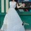 ชุดเดรสเกาหลี พร้อมส่งPearl White 3D Floral Back Show Off Luxury Dress thumbnail 1