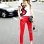 เสื้อผ้าเกาหลี พร้อมส่งเซตเสื้องานปักลายเส้นดีไซน์ปักเฉพาะด้านข้างโทนแดงดำ thumbnail 1