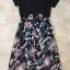ชุดเดรสเกาหลี พร้อมส่งLong Dress เดรสยาว ช่วงตัวเสื้อเป็นผ้าสเปนเดกสีดำ thumbnail 2