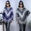 Winter Tassel V Stripes Knit Bat Sleeve Blouse thumbnail 1