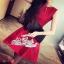 ชุดเดรสเกาหลี พร้อมส่งเดรสสไตล์ Luxury สีแดงเรียบหรู thumbnail 6
