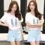 Ladies short blouse, shoes bright polka dot print shorts thumbnail 1