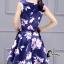 ชุดเดรสเกาหลี พร้อมส่งMini Dress ผ้าซาตินสีน้ำเงินเข้มปริ้นลายดอกไม้สีชมพู thumbnail 6