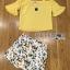 เสื้อผ้าเกาหลี พร้อมส่งเซ็ตเสื้อเปิดไหล่สีเหลืองและกระโปรงกางเกงพิมพ์ลายเลมอน thumbnail 14