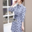 Jackie Blue Striped Star Laser-Cut and Embroidered Cotton Shirt Dress thumbnail 3