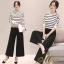 เสื้อผ้าเกาหลีพร้อมส่ง ชุด Set 2 ชิ้น เสื้อคอกลม แขนยาวลายขวาง+กางเกงขายาว 9 ส่วน thumbnail 14