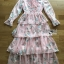 Jill Printed Layered Pink Chiffon Dress thumbnail 7