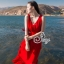 Ribbon Shoulder Sexy Waist Back Red Hot Maxi Dress thumbnail 4