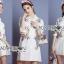 เสื้อผ้าเกาหลี พร้อมส่งเชิ้ตเดรสสีขาวปักลายครอสติส thumbnail 3