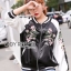 Sara Sporty Chic Floral Embroidered Satin Bomber Jacket thumbnail 4