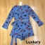 เสื้อผ้าแฟชั่นพร้อมส่ง Jumpsuit แขนระบายสีฟ้าลายใบไม้ฟรุ้งหริ่ง thumbnail 4