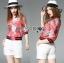 เสื้อผ้าเกาหลี พร้อมส่งแจ๊กเก็ตสีชมพูพิมพ์ลายสไตล์สปอร์ตแบบกุชชี่ thumbnail 3